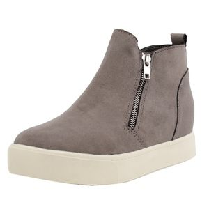 Shoes - Grey Faux Suede Hidden Wedge Rubber Sole Sneaker